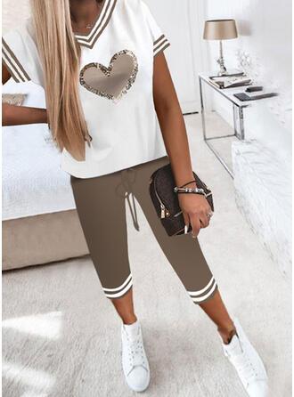 raya Trozos de color Impresión Corazón Casual Tallas Grande Pantalones Conjuntos de dos piezas