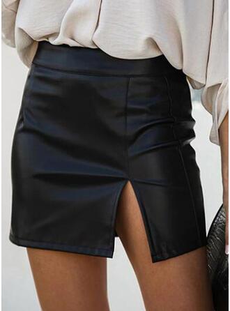 レザー/ PU プレーン ミニ 鉛筆のスカート