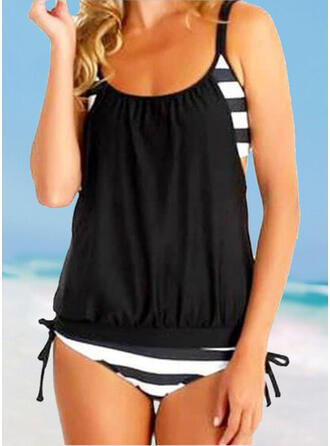 Stripe Strap U-Neck Vintage Plus Size Tankinis Swimsuits