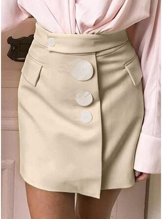 Polyester Solid Color Over Knee Blyantskørter