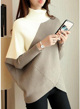 Bloque de Color Cuello De Tortuga Vestido de Suéter