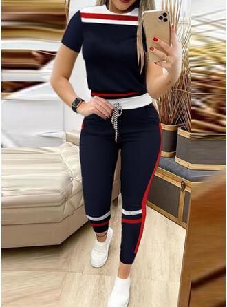 Stribe Color Block Sporty Plus størrelse tee & 2-delt tøj sæt