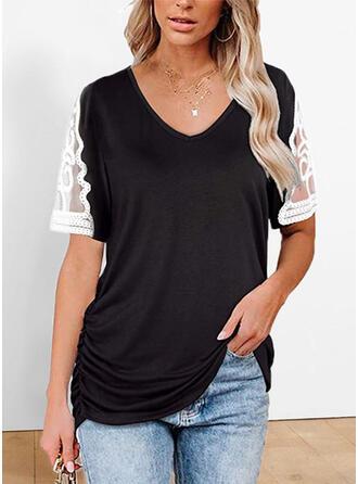 Spets Solid V-ringning Korta ärmar T-tröjor