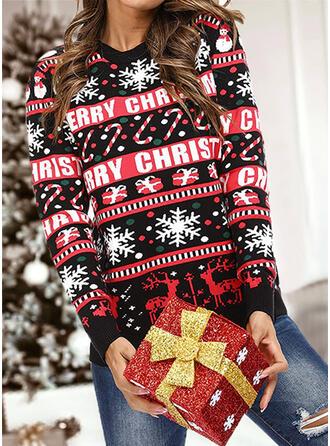 婦人向け 印刷 トナカイ 文字 水玉模様 ダサいクリスマスセーター