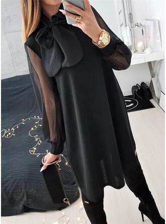 固体 長袖 シフトドレス 膝上 リトルブラックドレス/カジュアル ドレス
