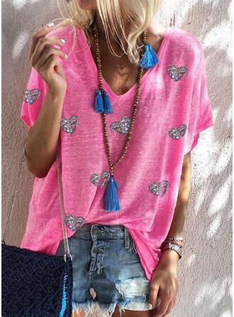 Hjärta Paljetter V-ringning Korta ärmar T-tröjor