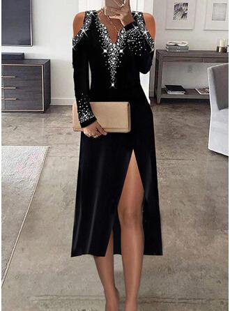 印刷 スパンコール 長袖 冷たい肩の袖 シースドレス パーティー/エレガント ミディ ドレス