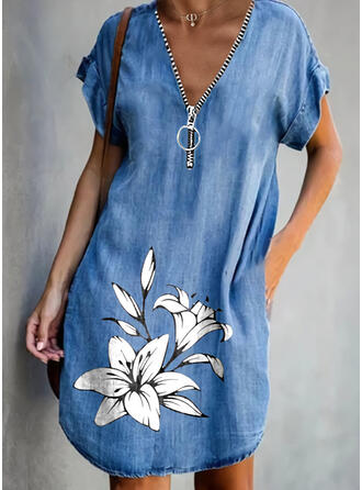 印刷/フローラル 半袖 シフトドレス 膝丈 カジュアル/デニム チュニック ドレス