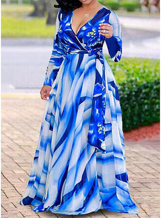 Plus Size Print Long Sleeves A-line Maxi Casual Vacation Dress