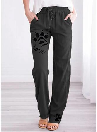 Animal Print Pockets Plus Size Long Casual Print Pants