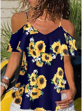 Sunflower Print Spaghetti Strap Short Sleeves Casual Blouses