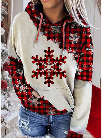 Impressão Colorido Grelha Manga comprida Camisola de Natal