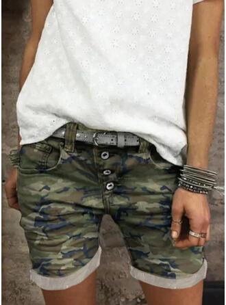 Camuflaje Algodón Por encima de la rodilla Casual Clásico Tallas Grande Bolsillo shirred Botones Pantalones Pantalones cortos