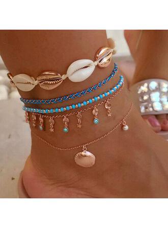 Charme Le plus chaud Coquille Alliage avec Coquille Bijoux de plage Bracelets de cheville (Ensemble de 5 paires)