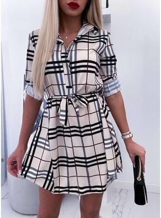 印刷/グリッド 長袖 シースドレス 膝上 カジュアル ドレス