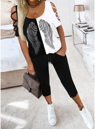Print Color Block Casual Plus størrelse bluse & 2-delt tøj sæt