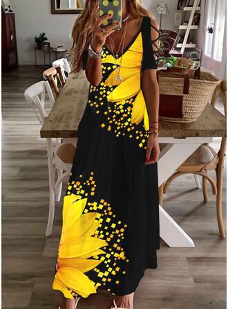 印刷/フローラル 半袖 冷たい肩の袖 シフトドレス カジュアル/休暇 マキシ ドレス
