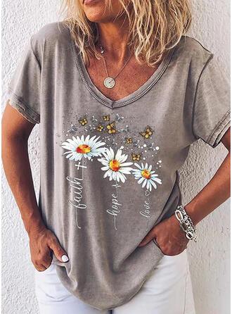 Nadruk Zwierzęcy Figura Kwiatowy Dekolt w kształcie litery V Krótkie rękawy T-shirty