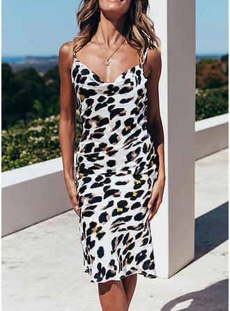 Leopardo Sin mangas Cubierta Hasta la Rodilla Casual/Vacaciones Vestidos