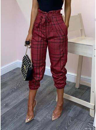 Plaid Bowknot Long Elegant Sexy Pants