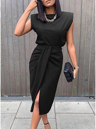 Sólido Sin mangas Cubierta Hasta la Rodilla Pequeños Negros/Elegante Vestidos