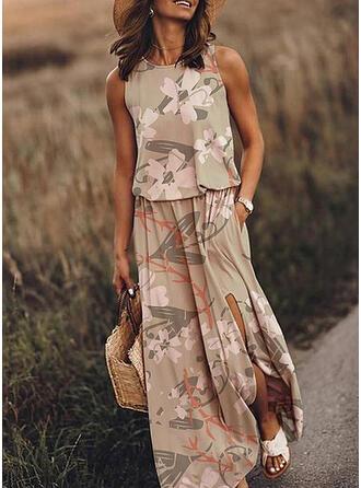 Impresión/Floral Sin mangas Acampanado Casual/Vacaciones Midi Vestidos