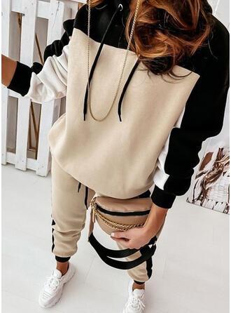 カラーブロック スポーティー カジュアル プラスサイズ スウェット & ツーピースの服 Set ()