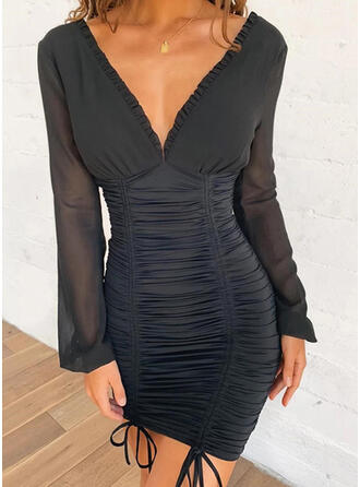 Solid/Backless Long Sleeves Bodycon Above Knee Little Black/Party Dresses