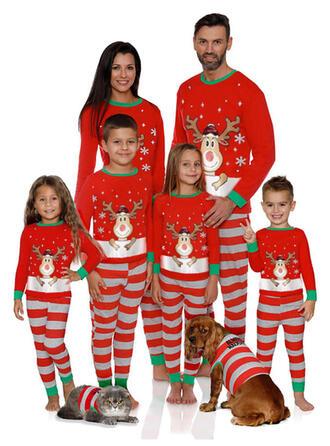 Ελάφια Ριγέ Οικογένεια Εμφάνιση Χριστουγεννιάτικες πιτζάμες
