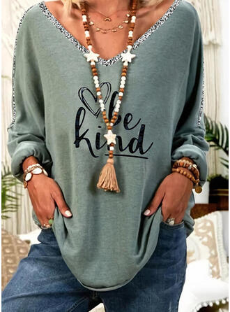 Figure Heart Print Sequins V-Neck Long Sleeves T-shirts