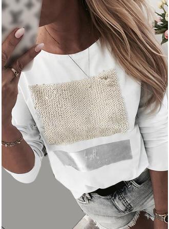 Impresión Lentejuelas Cuello redondo Manga Larga Casual Camisetas