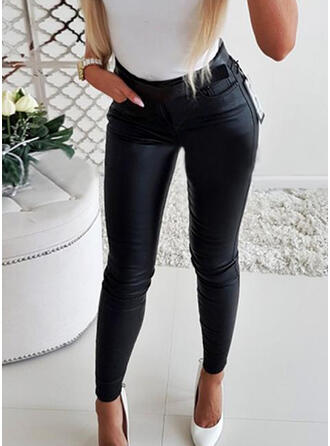 Solid fickor Shirred Lång Elegant Sexig Läder Byxor