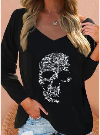 Print Skull head V-Neck Long Sleeves T-shirts