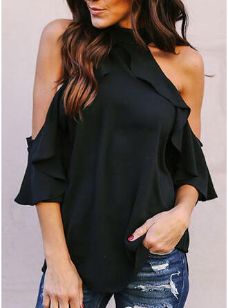 Solid Cold Shoulder Flare Sleeve 1/2 Sleeves Casual Blouses