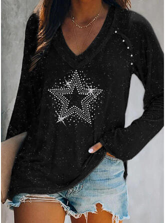 Sequins Beaded V-Neck Long Sleeves Casual T-shirts