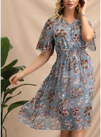 Impresión/Floral Mangas 1/2 Acampanado Hasta la Rodilla Casual/Elegante/Bohemio/Vacaciones Vestidos