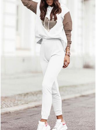 Hjerte Print Color Block Casual Plus størrelse sweatshirts & 2-delt tøj sæt