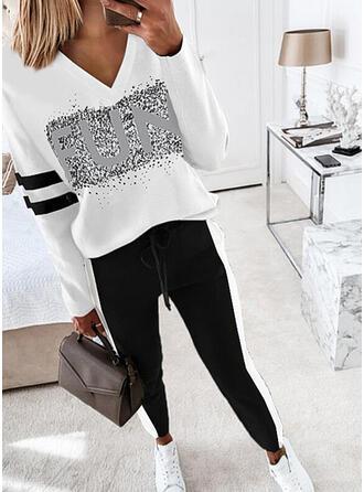 Bogstav Stribe Print Casual Plus størrelse bluse & 2-delt tøj sæt