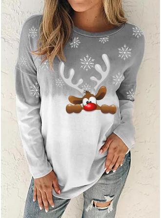 Animal Tie Dye Neck redonda Manga comprida Camisola de Natal