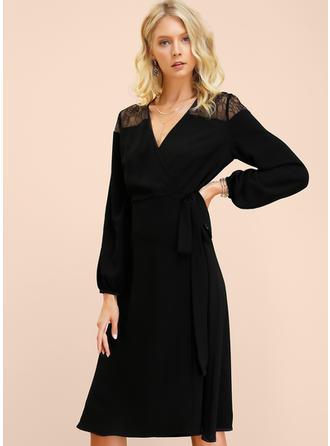 Encaje/Sólido Manga Larga Acampanado Pequeños Negros/Casual/Elegante Midi Vestidos