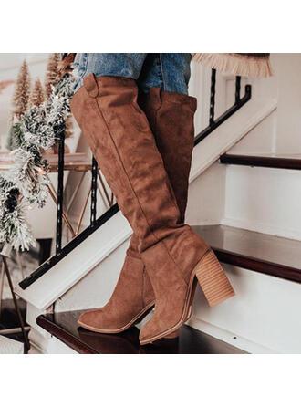 De mujer Ante Tacón ancho Botas con Color sólido zapatos