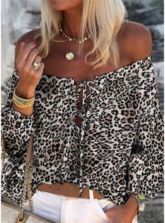 Impresión Leopardo Sin Hombros Manga Larga Casual Blusas