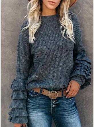 固体 ラウンドネック カジュアル セーター