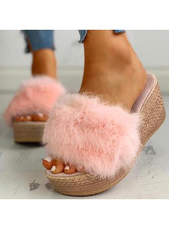 Γυναίκες Υφασμα Επίπεδη φτέρνα Σανδάλια Παντούφλες Με Γούνα παπούτσια