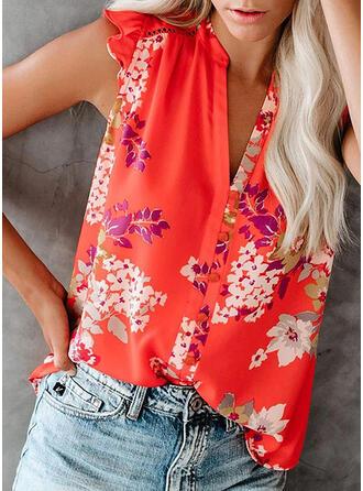 Impresión Floral Cuello en V Sin mangas Casual Camisetas sin mangas