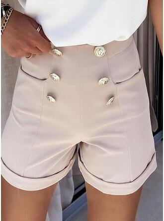 Sólido Gasa Por encima de la rodilla Casual shirred Pantalones Pantalones cortos