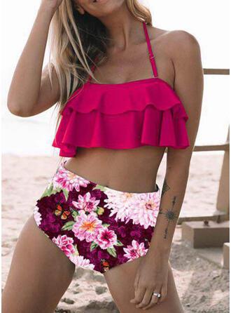 Fleuris Taille Haute Imprimé Dos Nu Sexy Bikinis Maillots De Bain