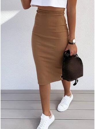 ポリエステル プレーン 膝丈 鉛筆のスカート