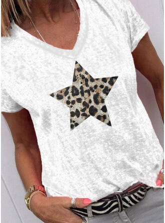 Impresión Leopardo Cuello en V Manga corta Casual Camisetas