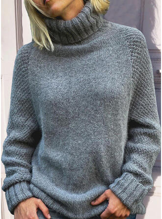 Sólido Cuello Alto Casual Suéteres
